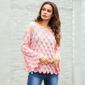 Pretty in Pink flounce sleeve sweater M